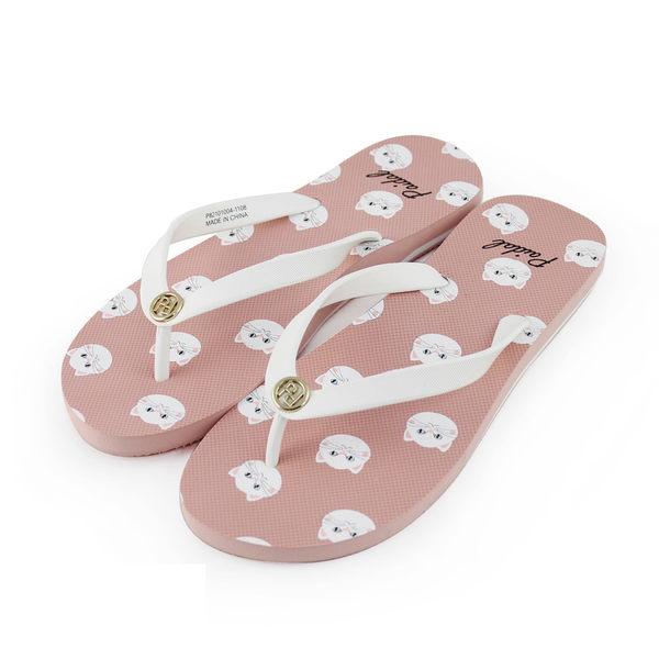 Paidal 甜蜜寵物小白貓條紋平底夾腳拖鞋