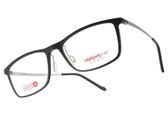 Alphameer 光學眼鏡 AM3204 C02 (黑-銀) 記憶塑鋼簡約方框款 平光鏡框 #金橘眼鏡