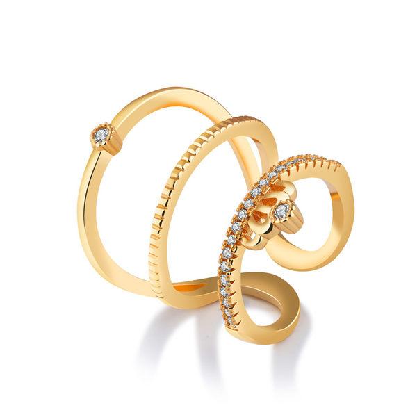 【5折超值價】歐美新款個性多層鑲嵌鋯石皇冠銅鍍女款戒指