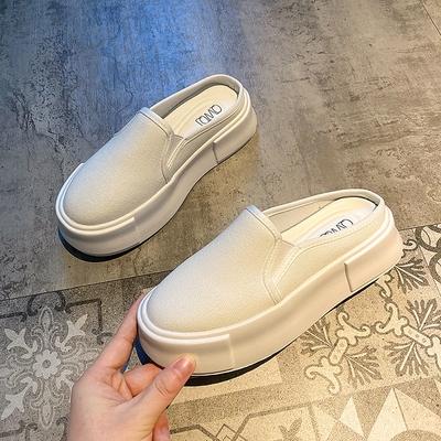 半拖鞋 半拖鞋女夏外穿2021年夏季新款厚底包頭拖鞋厚底時尚網紅帆布鞋子 俏girl