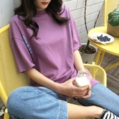 【狐狸跑跑】春夏韓版個性字母印花背部不規則開叉中長款T恤女3319