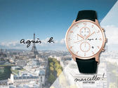 【時間道】agnes b. marcello!設計師手寫系列三眼計時腕錶/白玫金黑皮(VD57-KY30Z/BM3017J1)免運費