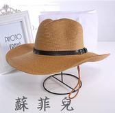 可折疊情侶款沙灘帽草帽牛仔釣魚帽大沿帽夏天遮陽帽子男士禮帽