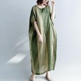連身裙-短袖長款寬鬆拼色文藝女洋裝73te40【巴黎精品】
