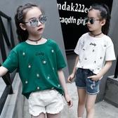 女童T恤 童裝女童新款夏季短袖T恤純棉時尚上衣夏天女孩白色兒童打底衫潮【快速出貨】