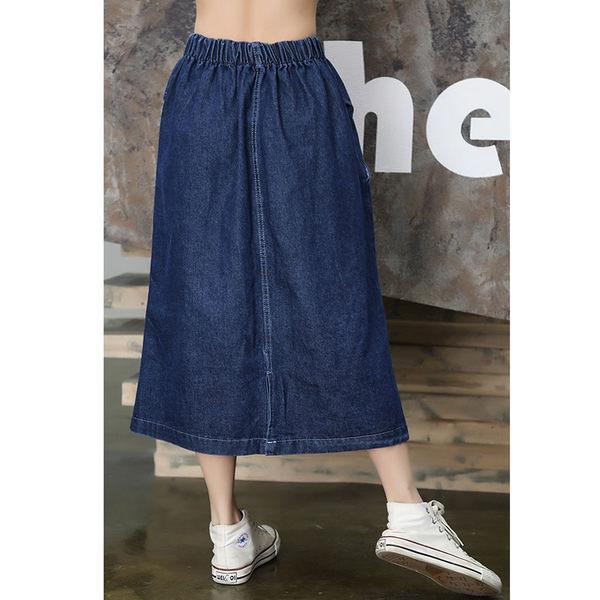 半身裙夏季a字高鬆緊大擺傘裙牛仔半身裙大碼胖MM學生學院風長裙子