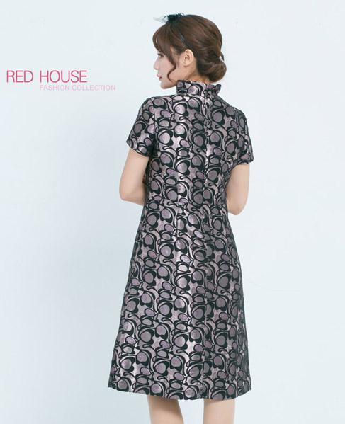 RED HOUSE-蕾赫斯-立領亮花紋洋裝 (共2色)
