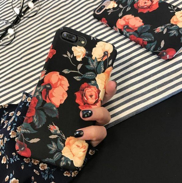 韓版 復古 氣質 玫瑰花 蘋果 手機殼 iPhone7 iPhone6 plus i6s 磨砂 硬殼 保護套 保護殼
