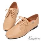 訂製鞋 可兩穿雕花小方頭牛津鞋-卡其色下單區