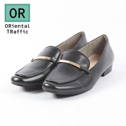 【ORiental TRaffic】時尚金屬飾條平底鞋-皮革黑
