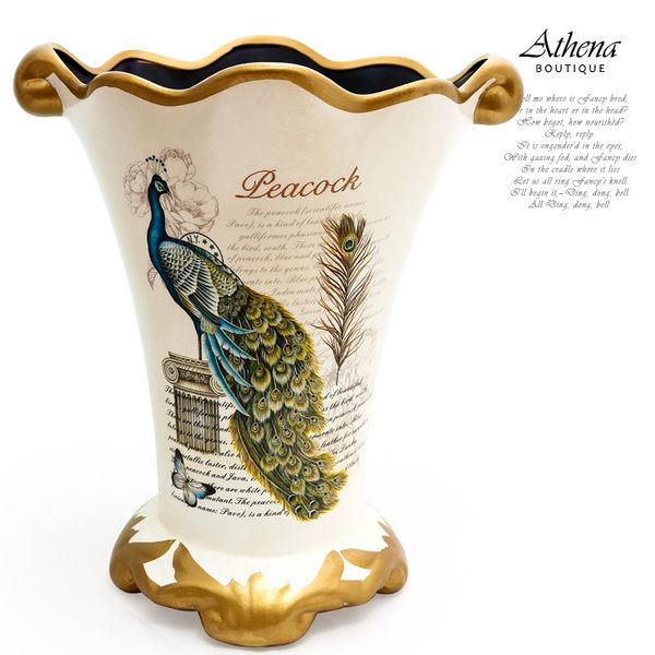 【雅典娜家飾】歐式復古藍孔雀花器-EF51
