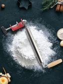 搟面杖搟餃子皮兒神器家用不粘大小號304不銹鋼趕滾軸實木搟面棍 寶貝計畫