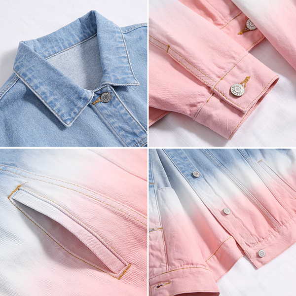 牛仔外套女韓版寬鬆bf風2019秋季新款漸變色休閒夾克上衣潮