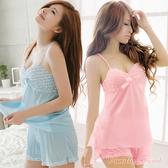 浪漫柔緞胸前抓皺兩件式睡衣‧附短褲‧俏皮甜美 - 香草甜心
