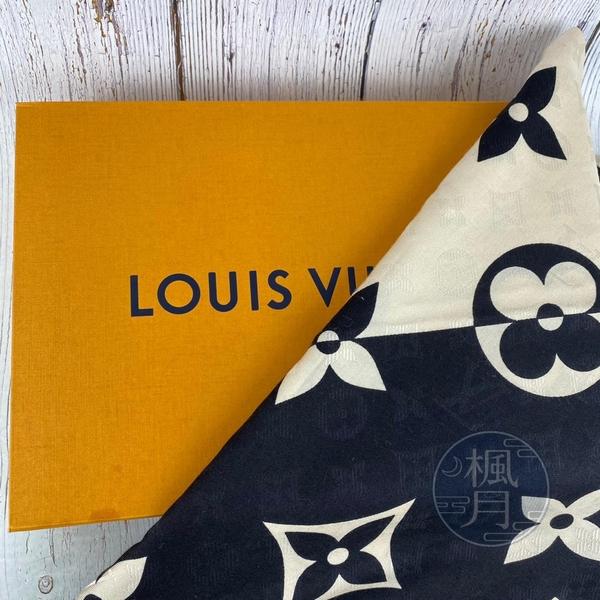 BRAND楓月 LOUIS VUITTON LV M76487 黑色 米白 多色搭配 原花 絲巾 領巾 披肩
