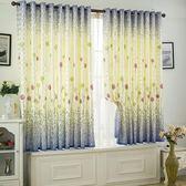 現貨出清  卡通田園窗簾成品定制客廳陽台臥室飄窗短簾半遮光窗簾布