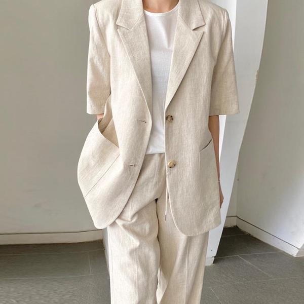 韓國CHIC夏季法式氣質翻領兩粒扣雙口袋寬松薄款短袖西裝外套女