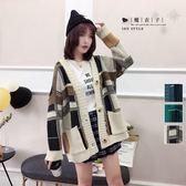 【QV2580】魔衣子-格紋撞色長袖針織毛衣外套