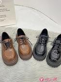 英倫風女鞋 小皮鞋女英倫風2021新款百搭厚底休閒鞋子冬系帶學生單鞋韓版 小天使