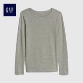 Gap女童 舒適小圓環邊飾圓領長袖T恤 499192-麻灰色