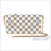 LV N63106 POCHETTEFÉLICIE棋盤格LOGO Damier Azur 帆布鏈帶扣式斜背手拿長夾(芭蕾粉)