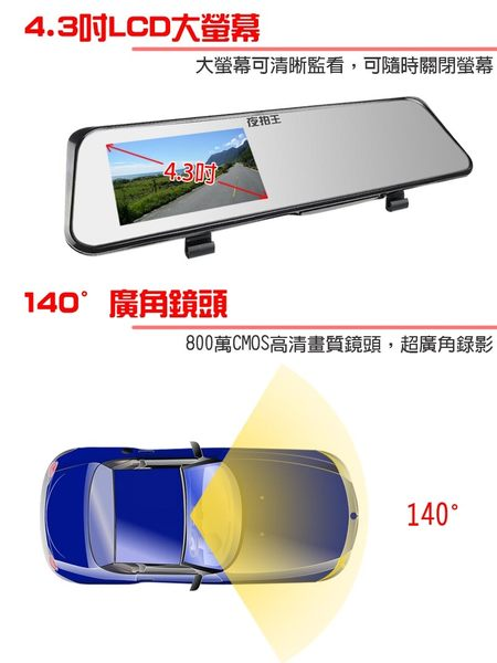 【YourShop】F3 雙鏡頭 後視鏡型 行車紀錄器 +8G