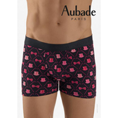 Aubade man-舒棉M-XL平口褲(高帽-黑粉)