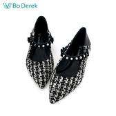 Bo Derek 造型珍珠活動帶平底鞋-黑色