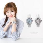 Valentino范倫鐵諾 雪白精密全陶瓷珍珠貝面手錶 旋轉外框設計【NE1054】原廠公司貨