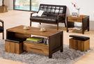 【森可家居】巴菲特茶几組(全組) 7ZX425-2 大小茶几 工業風 木紋質感 附椅凳