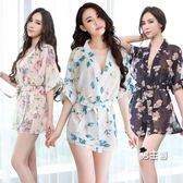 日系和服情趣內衣性感睡衣女日系和服透明薄紗大尺碼冰絲可外穿睡裙夏秋