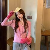 拼接v領修身長袖針織衫上衣女2021春秋新款緊身粉色毛衣開衫外套 錢夫人