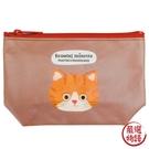 【日本製】【ECOUTE!】貓咪系列 貓臉化妝包 收納包 S尺寸 棕白虎斑貓圖案 SD-3961 - ecoute!