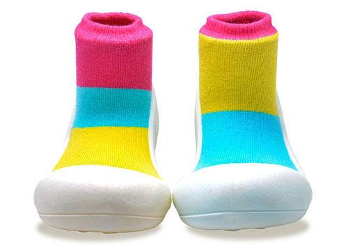 韓國 Attipas 快樂腳襪型學步鞋-居家粉紅