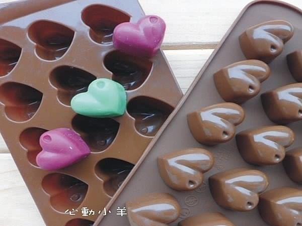 心動小羊^^耐高溫圓潤愛心矽膠巧克力模、蠟燭果凍布丁模製冰格翻糖、香磚、迷你皂模