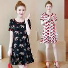 【GZ22】年夏季新款韓版大碼女裝胖MM寬鬆顯瘦印花連身裙洋裝9676#