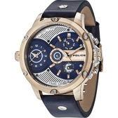【台南 時代鐘錶 POLICE】義式潮流 工業風格雙時區三眼日期腕錶 15049JSR-03 皮帶 玫瑰金 52mm
