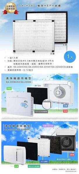 (超值兩入組)尚朋堂清淨機SA-2255F/SA-2203C/SA-2258DC專用強效HEPA濾網SA-H360