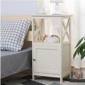 簡約床頭柜白色唯美床邊柜整裝臥室儲物收納柜歐式燈柜電話柜XQB
