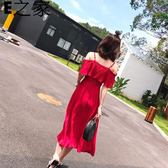 一字肩露肩紅色雪紡吊帶連身裙女夏 E家人