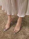 凉鞋涼鞋女包頭新款百搭仙網紅水鑚透明尖頭細跟春款高跟鞋夏  【快速出貨】