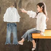 套裝 女童秋裝套裝2018新款韓版洋氣潮衣襯衫喇叭褲兒童時髦秋季兩件套 雙11購物節