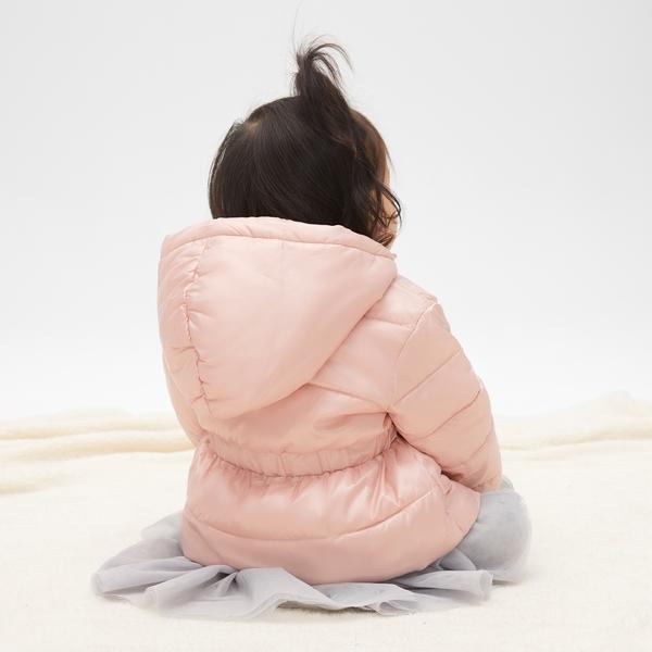 Gap女嬰兒 舒適保暖長袖拉鏈棉服外套 473977-香檳粉