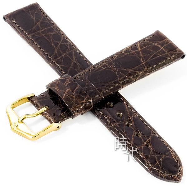 【台南 時代鐘錶 海奕施 HIRSCH】鱷魚皮錶帶 Prestige M 黑色 附工具 02208150 鱗片紋理光滑