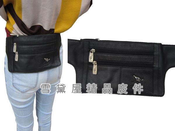 ~雪黛屋~Cougar 腰包中容量扁型外袋+主袋共四層可隱藏外戴型最大44腰100%進口牛皮革NCG8069