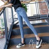 牛仔褲  2018秋季新款牛仔褲女破洞緊身小腳春秋九分褲韓版顯瘦高腰褲子女