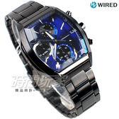 WIRED 超視覺炫彩 日系東京潮流 酒樽型 三眼計時碼錶 IP黑電鍍 男錶 黑x藍 AY8013X1 VR33-0AB0B