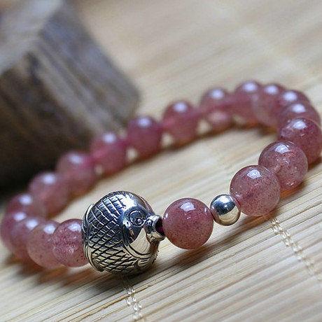 粉水晶手鏈薔薇石草莓晶手鏈