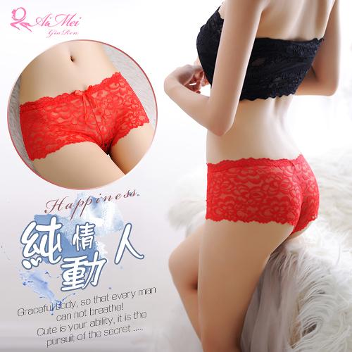 情趣內褲 性感平角褲 緹花蕾絲透膚美型平角內褲 紅   538580