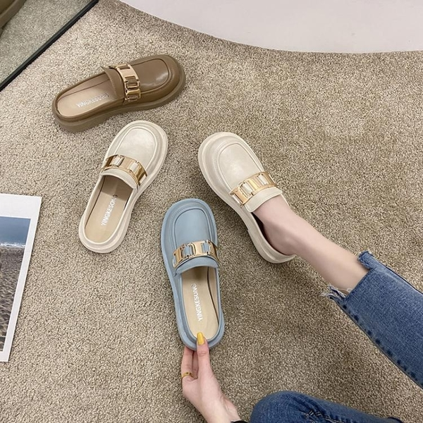 半拖鞋 2021年春夏季新款網紅超火時尚包頭半拖鞋女外穿平底穆勒ins風潮 小天使